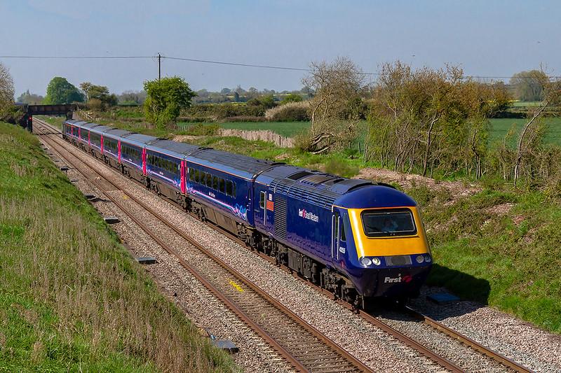 20th Apr 2019:  43155 'The Red Arrows' leading on 1A80 the 07.59 Penzance  to Paddington at Lambourn Lane in Edington on the Berks & Hants line