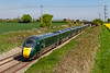 20th Apr 2019:  802021 & 802008 are racing along the Berks & Hants line at Edington with 1C81 the 12.03 from Paddington to Penzance.  Less than a month now before the IETs Rule the Roost on the GWR.  the Lambourn Lane bridge is in the background.