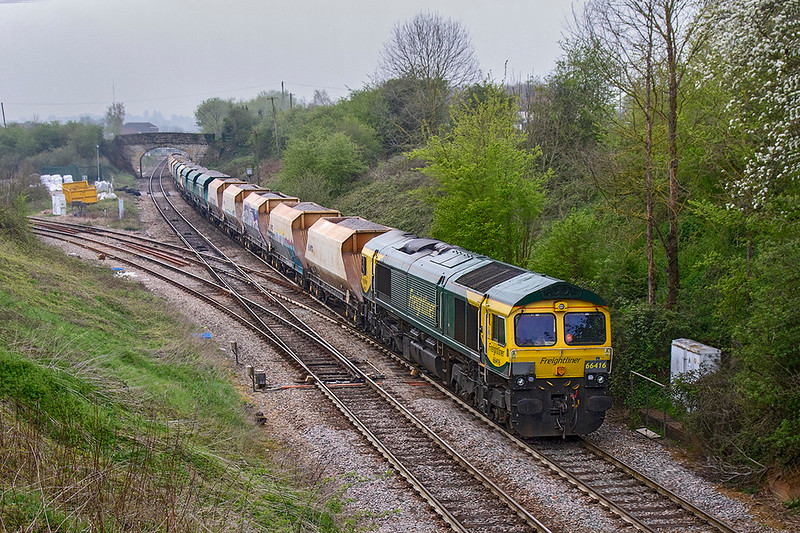 16th Apr 2019:  My first picture of a Freightliner Whatley Quarry to Stoke Gifford loaded stone service.  Due out at 12.32 it was actually started 18 minutes late but was right time as it passed me at Shallow Wagon Lane in Hawkeridge.  Shame the weather was crap though.