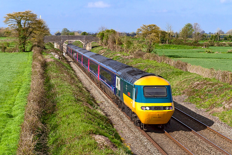"""11th Apr 2019"""". Riding shot gun on 1C74 the 09.03 Paddingto to Plymouth is 43002.  Captured at Cowleaze Lane in Edington on the Berks & Hants Line this, the first production HST power car, will be save for the National Collection when their use ceases in just over a month's time"""