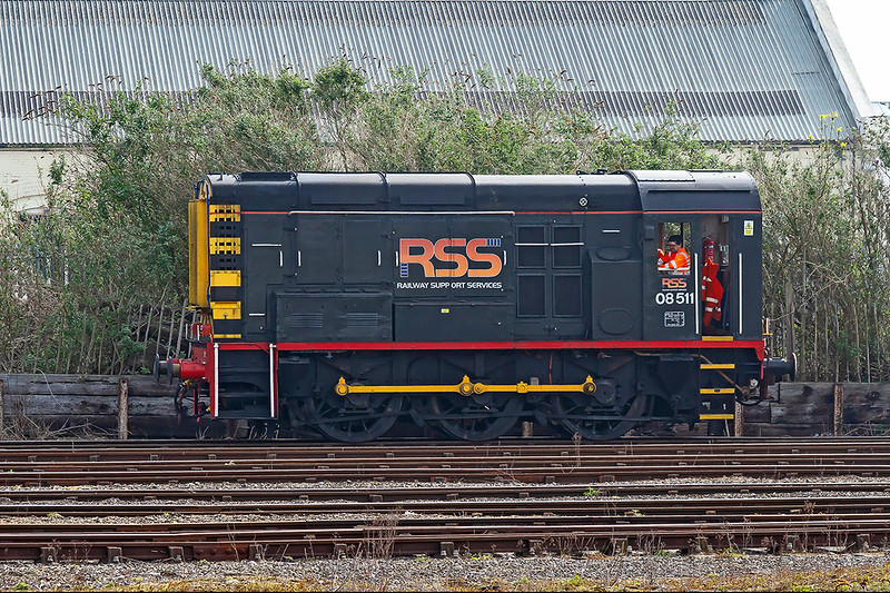 18th Apr 2019:  Now the GBRf now run the Eastleigh Yards  shunting is  done using 08 shunters.  Passing the station is 08511  one of the several used .