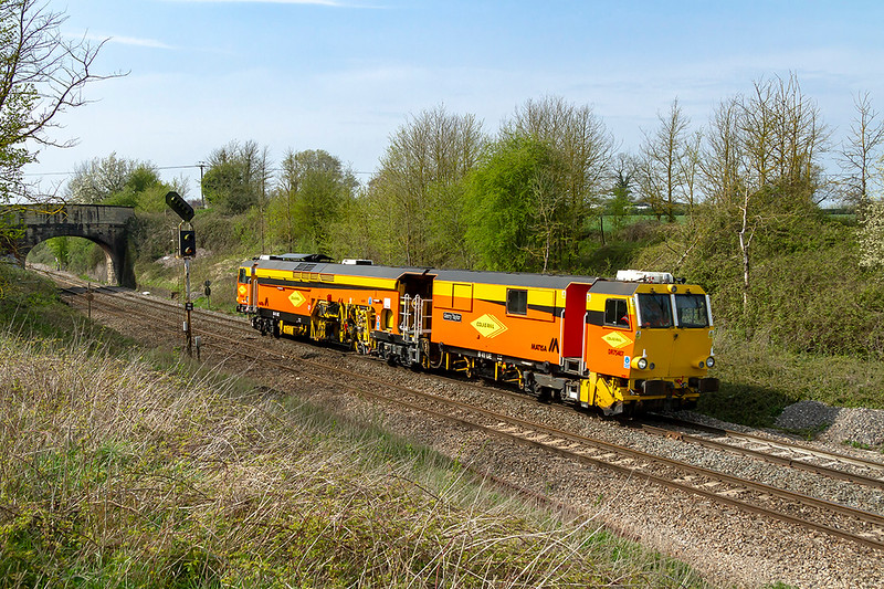 15th Apr 2019:  A new Colas Rail Matisa Tamper DR75407 'Gerry Taylor' sports the new Colas Rail logo.  It is pictured at Hawkeridge as it works from Westbury to Slough Estates.