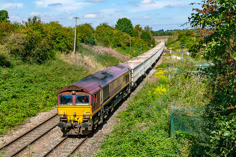 23rd Aug 2019:  66110 is again powering 6C68 the 12.25 from Avonmouth Hansons Siding to Whatley Quarry snapped at Hawkeridge Jn