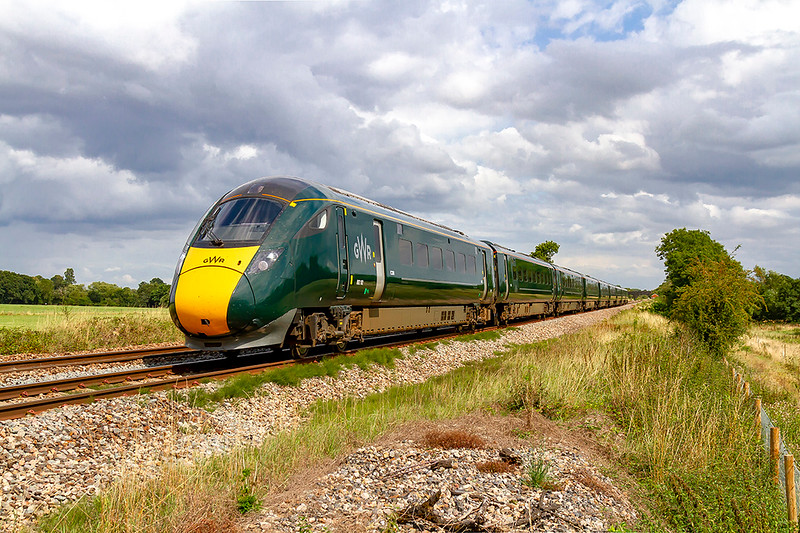 12th Aug 2019:  1C81 is the 12.33 from Paddington to Taunton in the hands of 802102 it is only 2 minutes late as it passes Masters Crossing  between Fairwood andClink Road Junctions