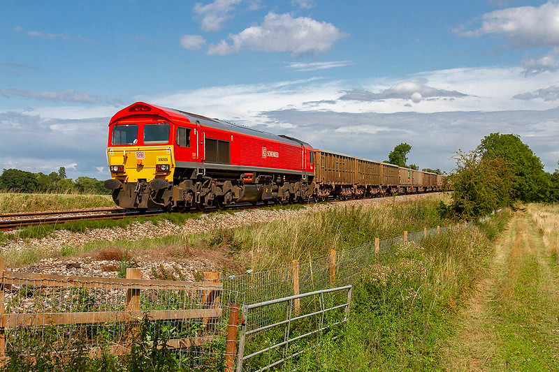 12th Aug 2019:  59205 is heading West away from Fairwood Junction as it heads 7C77 from Acton to Merehead
