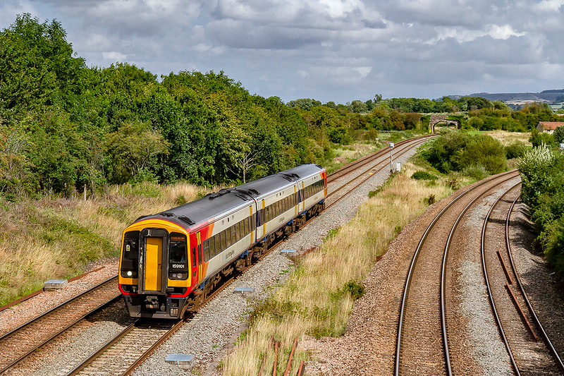 19th Aug 2019:  South Western Railway 159101 on the Great Western mainline as it works 1V35 the 12.50 Waterloo to Yeovil Pen Mill at Fairwood Junction