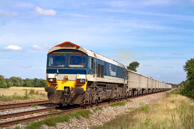 30th Aug 2019: Approaching Masters Crossing in Fairwood is 59102 ,Village of Chantry, at the head of 6C68 the 12.25 from Avonmouth Hansons Siding to Whatley Quarry.
