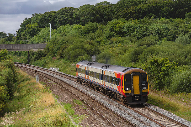 8th Aug 2019:  South Western Railway 159020 is on the Great Western main line as it works 1O40 the 10.45 from Yeovil Pen Mill to Waterloo.  The location is at Berkly Marsh which is just East of Clink Road Junction in Frome.