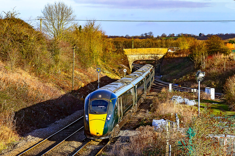 7thr Dec 2019:  Working through Hawkeridge is one of the many extra services into Bath and Bristol to cope with the extra Christmas traffic is 800014 'Edith Drew'' forming 1Z11 the 09.38 from Bristol to Westbury.  Here it will reverse and form 1Z21 the 10.26 to Bristol Temple Meads. Similar trains were working to Swindon.