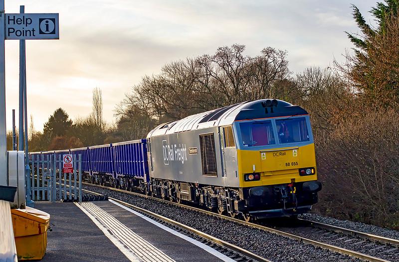 11th Dec 2019:  60055  'Thomas Barnardo' running down the grade through Dilton Marsh as  it heads 6Z90 the 07.49 from Southampton Up Yard to Westbury.