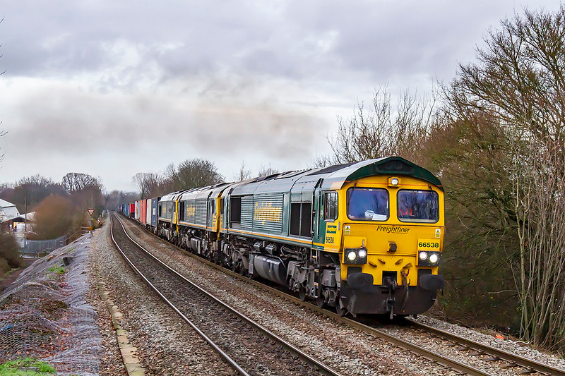 16th  Dec 2019:  On the first day of the big time Table change  66538 with 66599 and 66601 DIT are pictured as the climb through Dilton Marsh with 4O57 from Wentloog to Southampton Maritime..  This will now be a regular working  through Westbury because  freight is being moved away from the direct route from The Severn Tunnel to Reading to make way for the additional IET services that should start running. to Paddington.