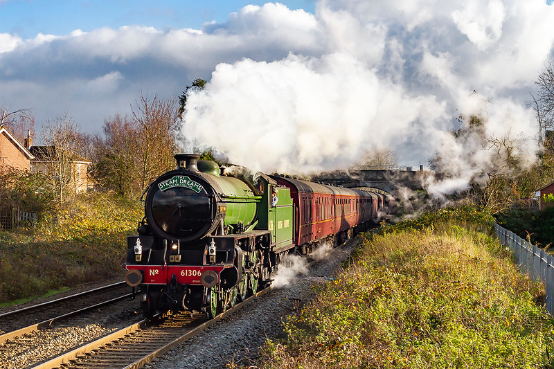 """1st Dec 2019"""".  LNER B1 61306 'Mayflower' is running into Trowbridge as it works as 1Z22 to Bath Spa from Paddington."""