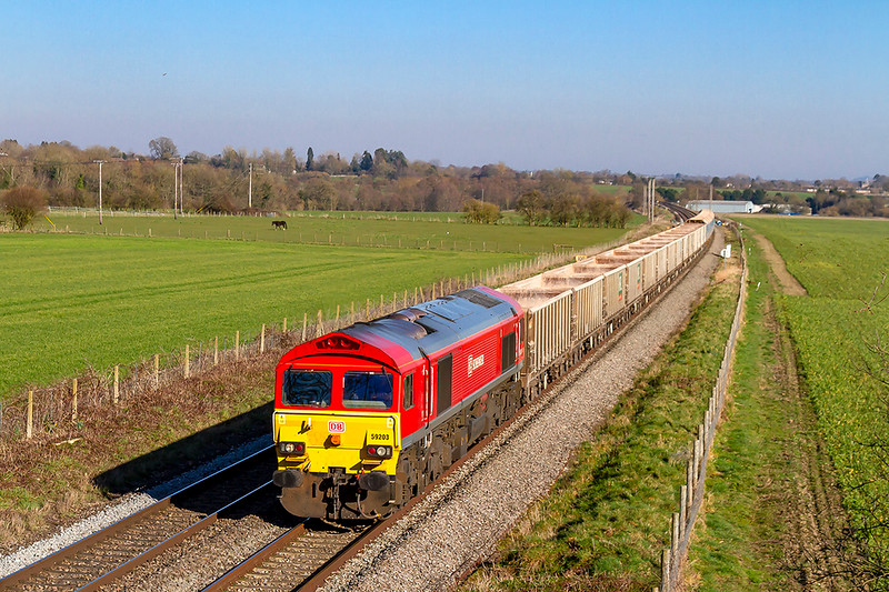 25th Feb 2019:  59203 runs through Manningford Bruce with 7C77 from Acton to Merehead