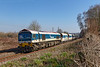 27th Feb 2019:  Rounding the curve away from the site of Lavington Station  is 59103 as it. works 6C31 from Theale RMC to Whatley Quarry