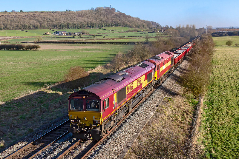26th Feb 2019:  About to pass under the Granada Bridge on the Warminster By Pass is 66059 with 60065 DIT on 6V41 the return afternoon departmental from Eastleigh to Westbury.