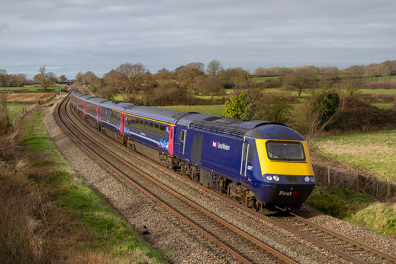 11th Feb 2019:  Running exactlty on time though a welcome patch of sunlight at Great Cheverell is 43171 leading on 1A81 the 07.41 from Penzance to Paddington. 43154 is on the other end.