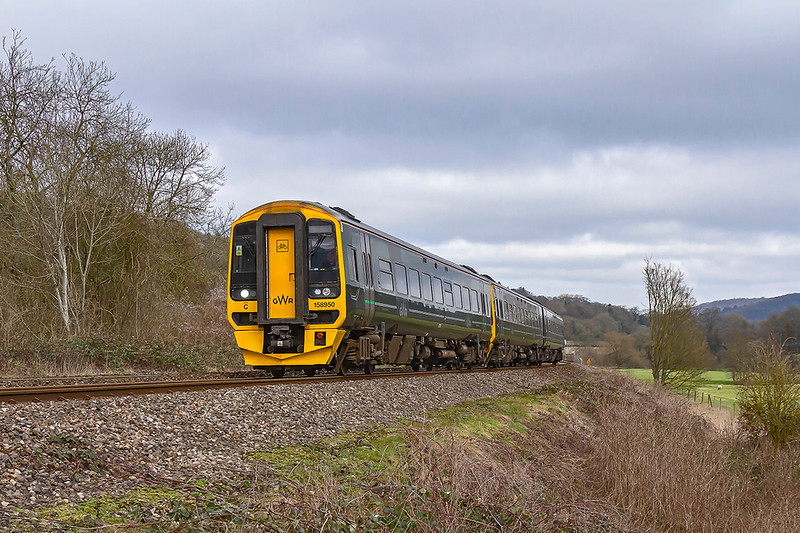 21st Feb 2019: Passing the point at Limpley Stoke where the Cammerton Branch vered away to the left is 158950.  1F13 left Cardiff at 10.30 and is going to Portsmouth Harbour.