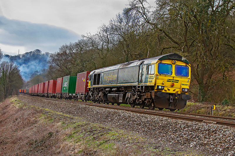 21st Feb 2019:  Running just over 60 minutes late is the Southampton MCT to Bristol Freightliner Terminal through Limpley Stoke.