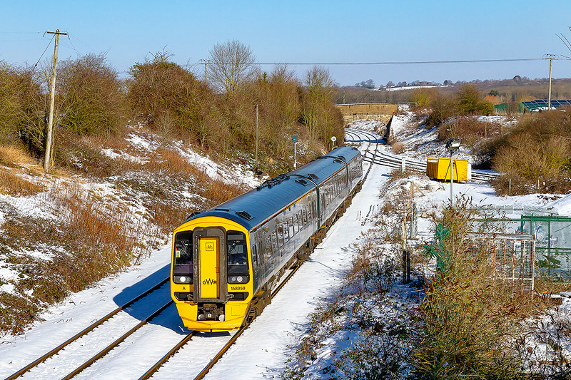 2nd Feb 2019:  Passing over the July 1942 opened Hawkeridge Junction is the 10.30 from Cardiff to Portsmouth Harbour.  1F11 in in the hands of 158959 the service started a couple of minutes late and has  managed to  drop a few more as it gets here.