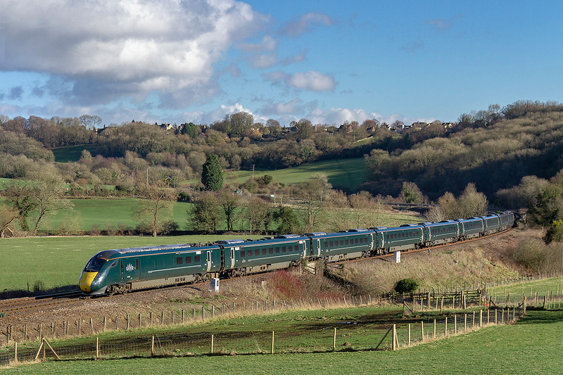 10th Feb 2019:  1C15 the 13.03 Paddington to Bristol Temple Meads formed by 800308 is running through the Avon Valley  at Freshford