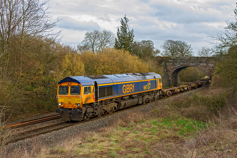 13th Feb 2019:  9 minutes after 66749 with 50011 passed the other way 66737  'Lesia' comes under the bridge at Sherrington as it works 6M46 from Marchwood MOD to Bicester MOD