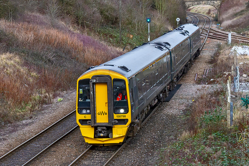 26th Jan 2019:  At 12.30 1F17 left Cardiff Central and is right time as it runs over Hawkeridge Junction near Westbury .  However 158798 was nine minutes late when it arrived at Southampton and when it got to Portsmouth Harbour.