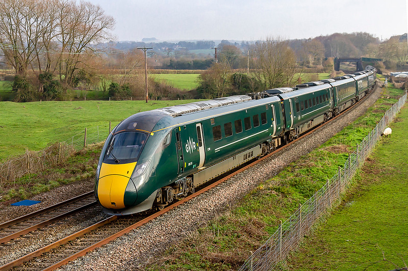20th Jan 2019:  The every day now is an IET racing west through Great Cheverell. 800315 is forming 1C79 the 10.57 to Newton Abbot from Paddington
