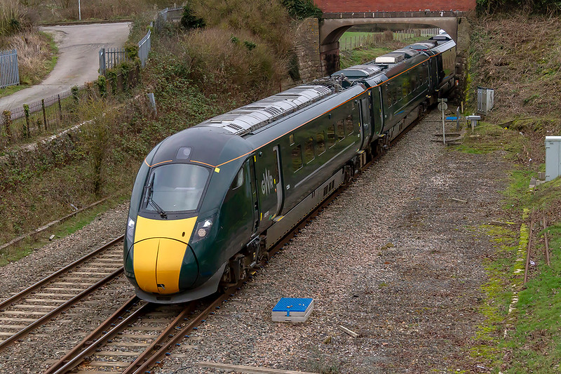 3rd Jan 2019:  Bursting under the road bridge at Woodborough is 802012 the lead unit on 1C80 the 12.03 Paddington to Penzance, The 2nd unit is 802021