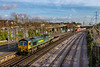 9th Jan 2019:  Running through Millbrook is 66549 with 4O90 the 6.45 Leeds to the Southampton Maritime Container `terminal.  A few more containers would have improves the scene somewhat.