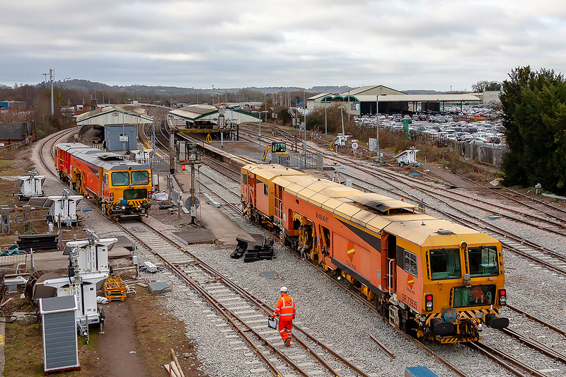 13 th Jan 2019:  A 'Colas Tamper Fest' at Westbury.  DR 73905 on the left and DR 73935 on the right.
