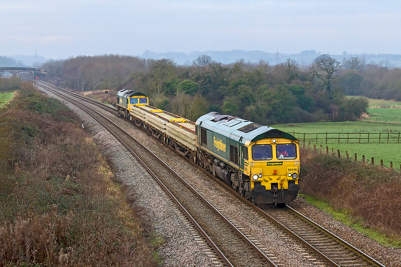 21th Jan 2019:  Ona  morning of flat light and murk 66546 and 66522  run through Fairwood as they work 6Y45 from Cogload to Hinksey