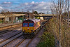 9th Jan 2019: Any service that is intended to terminate Southampton Western Docks has to us the most southerly track through Millbrook. This makes it awkward to picture but in winter tha lack of leaves allows some thing to be taken.  66095 is arriving with 4O43 from Wakefield Europort