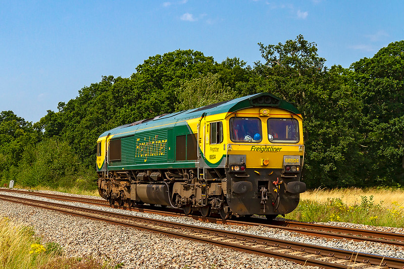 25th Jul 2019:  With the take over of the DBC stone workings from the Somerset quarries getting ever closer light engine  moves over the bramch lines are taking place.  665504 started from Stoke Gifford at 08.29 and worked via Westbury to Merehead. Pictured at Masters Crossing near Fairwood it is working back o Westbury.  Here it will reverse and return to Merehead and then go back to Stoke Gifford