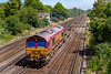 24 th Jul 2019:  With only a few containers in the consist 66120 is in charge od 4O43 that left Wakefield Europort at 06.20 and iis making for Southampton Western Docks