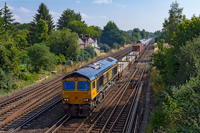 24th Jul 2019:    Starting from Dollands Moor 6X80 is working to Eastleigh TRSMD and has got far as Worting Junction.  66703 'Doncaster PSB 1991-2002' is moving two new IET  sets , that have come from Italy, 802211 and 802212 that will join  Trans Pennine Express fleet. after preparation is complete.
