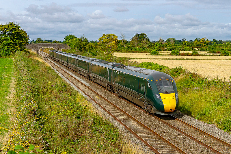 21st Jul 2019:  1A77 the 08.30 from Exeter St Davids to Paddington is in the hands of 800308.  Pictured as it passes through Edington on the Berks & Hants line.