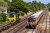 24th Jul 2019:  Heading south on the fast line at Worting Junction is 444028 that is going to Weymouth with 1W67 the 13.35 from Waterloo.  Going the other way is 70008 on it's way to Trafford Park with 4M67 from Southampton Maritime Container Terminal