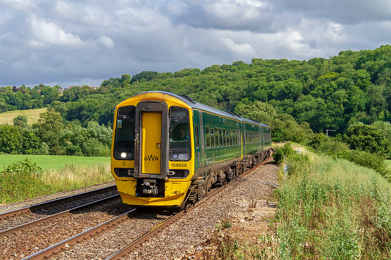 20th Jul 2019:  Racing along the Avon Valley and passing through Freshford is 158956  that isis forming 1F24 the 14.23 from Porstmouth Harbour to Cardiff Central