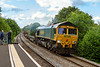 20th Jun 2019:  With only a few containers in the consist 66555 is almost racing up the grade through Dilton Marsh as it works 4O71 from Wentloog to Southampton Maritime Container Terminal.
