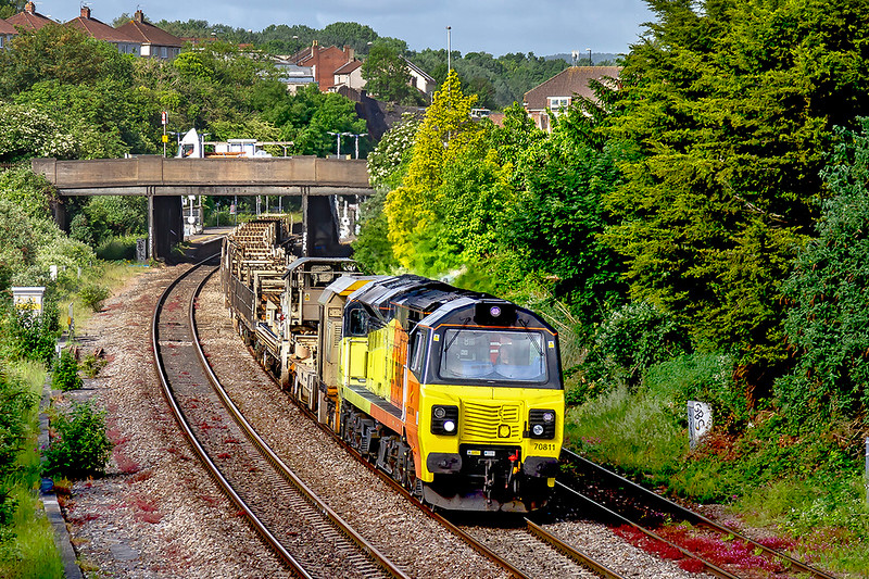 3rd Jun 2019:  Passing through Parson Street is 70811 with 6C98 from Newton Abbot.  The LWR set is going to Westbury where it will probably to taken to Eastleigh on the morning departmental.