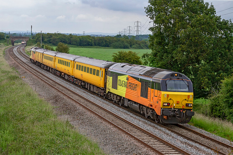 19th Jun 2019: Captured at Berkley Marsh near Frome is the regular tester that runs from Tyseley to Bristol Temple Meads via Weymouth.  Today 1Z22 is using the regulat pair of 67s with 67023 leading and 67027 riding shot gun.