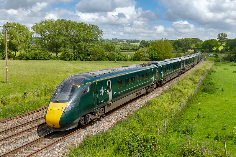 14th Jun 2019;  In the first sunny spell for a number of days 1C82 the 13.03 Paddington to Plymouth in the hands od 802014 is pictured as it races through Great Cheverell. 802012 is the 2nd unit. The two freights that I went there to picture both came when it was cloudy. Of  Course!
