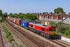 27th Jun 2019:  66131 will shortly stop at Eastleigh Station, probably for a crew change, as it works 4M71 Southampton Western Docks to Birch Coppice. Exchange Siding.  The picture is taken from the Campbell Road bridge