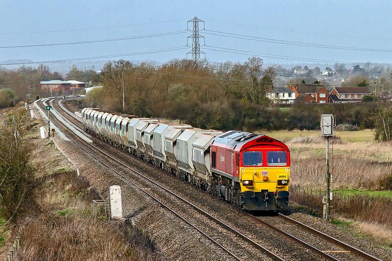 9th Mar 2019:  Nearing Hawkeridge is 59202 on the point of 6Z68 from Avonmouth Bennets Siding to Westbury.  A minute later and it was full sun.  Nice to get a 592 on this as their days are probably numbered on these duties.