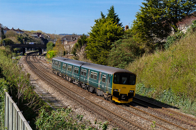 26th Mar 2019:  Pioneer Class 150. 150001 leaving Parson Street station as it works 2D08 that departed from  Weston Super Mare at 10.10 and is going to <br /> Bristol Parkway