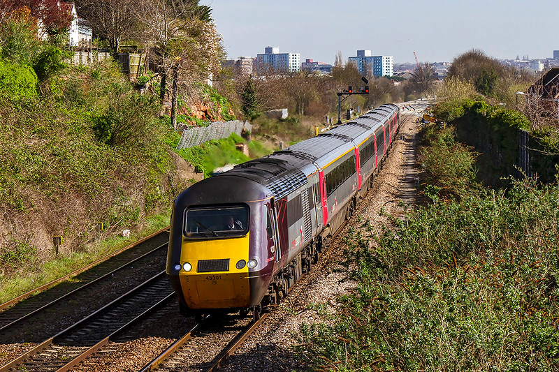 26th Mar 2019:  The 06.11 from Leeds to Plymouth, 1V44, is formed of 43301 and 43357,  Pictured from the foot bridge near Parson Street, it is hard to imagine that in 1960 there were 11 lines under it most of which were carriage sidings.