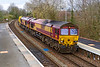 19th Mar 2019:  Rounding the curve into Warminster Station are 66050 & 66059 with an empty LWR forming 6O41 the 10.41 from Westbury to Eastleigh. It was actuelly running 60 minutes late and the light had dipped a bit unfortunately.