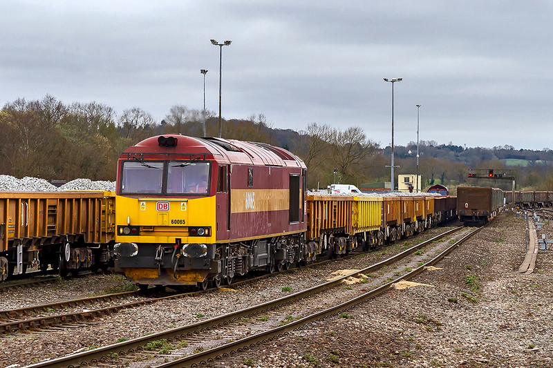 20th Mar 2019:  Doing what it was brought to Westburyb to do is 60065. Pictured in the Down Yard it is about to push the waggons back and then take them to the Up Yard.  The rusty old JNAs heading west are on a one way journey from Wellingborough to Merehead.