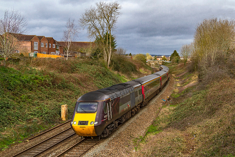 16th Mar 2019:  Very soon the only HSTs that will been seen in West Wilts will be diverted sets used by Cross Country. From Mud Lane in Trowbridge 43303 is seen as it works the diverted 1V44 the 06.11 from Leeds to Exeter