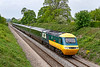 18th May 2019: On the last day of the GWR Inter City HSTs 1A76 the 06.57 from Plymouth to Paddington is pictured at Styles Hill in Frome. With the the first one, 43002, on the front and the last one,43198, on the other end this is the ideal spot to capture coming and going pictures